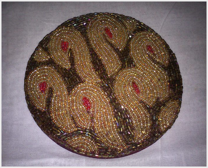 Beaded pasted coaster
